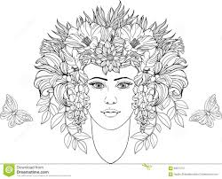 coloring page portrait of with flowers in hair stock vector