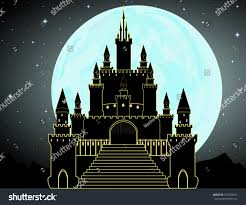 Dracula S Castle Vector Dracula Castle Full Moon Night Stock Vector 376538191