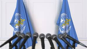 flag of the world health organization world health organization who official press conference by moovstock
