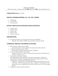 College Activities Resume Template Resume Format For Recommendations