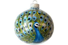 painted ornament glass peacock bird