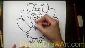 drawing how to draw a turkey in a pilgrim hat
