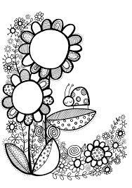 747 blackline flowers images coloring books