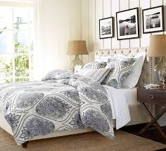 simple bedroom with pottery barn fabric tufted upholstered