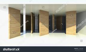 room wood partition abstract architecture 3d stock illustration