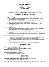warehouse resume summary of qualifications exles for movies shipping clerk resume sle http resumesdesign com shipping