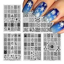 new year plates 1pcs new year nail sting plates image christmas snowflake