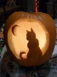 pumpkin carving idea cat jack o lantern halloween pinterest