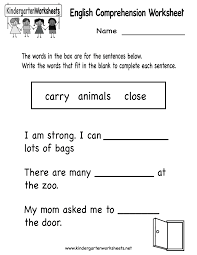 kindergarten english comprehension worksheet printable