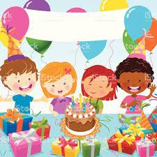 imagenes cumpleaños niños multiétnico celebración de fiesta de cumpleaños para niños arte