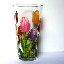 vase home decor tulips vase glass vase hand painted hand painted vase painted vase