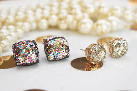 glitter stud earrings diy kate spade inspired glitter studs when it rains paper co