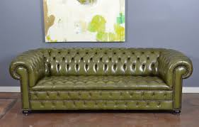 Chesterfield Sofa Antique Vintage English Olive Green Leather Chesterfield Sofa At 1stdibs
