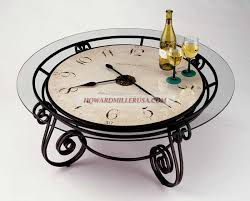 black wrought iron table clock decorative metal scrollwork design clock coffee table 615010