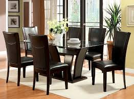 manhattan dark cherry finish rectangular glass 7 piece dining