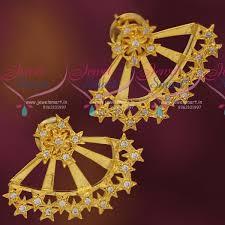 gold back earrings er7341 cz gold plated earrings front back design women fashion