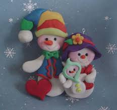 snow family snowman baby pet dog mom dad couple polymer clay