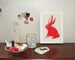 jackie bos blog red spotted bunny screen print