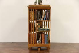 Oak Revolving Bookcase Sold Oak Vintage Spinning Or Revolving Chairside Bookcase Harp