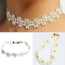 tattoo choker necklace aliexpress images New 1pc yellow white daisy flower choker chain necklace bracelet jpg