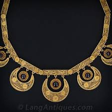 antique gold necklace images Exquisite antique gold filigree garnet necklace jpg