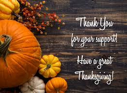 thank you for your support happy thanksgiving