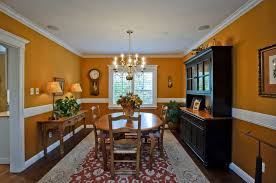 dining room with wooden furniture and chair rail the ideal