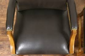 Vintage Leather Club Chair Pair Of Vintage Leather Library Or Office Chairs With Arms Signed