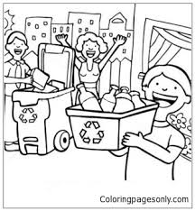 family learn the use of recycling coloring page free coloring