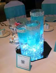 blue centerpieces stunning blue centerpiece petals and led lights inside