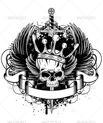 skull with crown wings and sword crown and sword