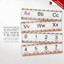 classroom decor alphabet trim printable editable numbers u0026