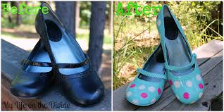 Spray Paint Your Shoes - my life on the divide polka dot shoe refashion