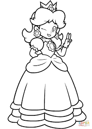 mario princess daisy coloring page free printable coloring pages