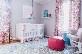 Pink Curtains For Girls Room Light Gray Transitional Nursery With Pink Accents Jenna Buck