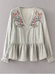 embroidered blouses peplum hem embroidered blouse gray blouses s zaful