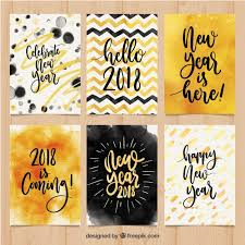 new year post cards collection of new year postcards in watercolour vector free