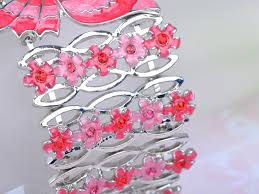 sweet pink color combination rose enamel painted butterfly flower