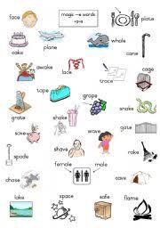 worksheet magic e words long a