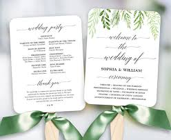 Fan Wedding Program Template Greenery Wedding Fan Program Printable Wedding Fan Program