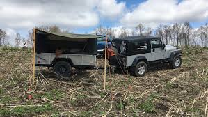 jeep utility trailer took my trailer to the races and set up my diy awning not bad for