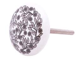 wholesale handmade ceramic round shaped knob in white color