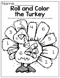 roll a die and color the turkey celebrate thanksgiving worksheets