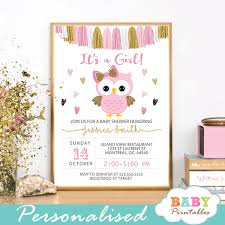 baby shower invitations girl pink and gold owl baby shower invitations d128 baby printables