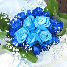 blue roses delivery roseshop rakuten global market light blue and blue bouquet