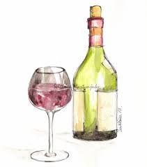 champagne bottle outline drawn spectacles wine bottle pencil and in color drawn