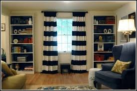 creative of white and navy striped curtains decorating with navy