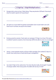 two digit times one digit multiplication worksheets multiplication word problems worksheets