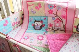 Crib Bedding Owls 4 Pcs Lovely Applique Baby Bedding Crib Set Pink 3d Embroidered