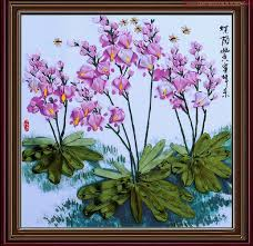 silk ribbon embroidery 3d orchid satin silk ribbon embroidery handcraft plant flower